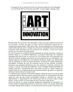 Arte de la innovación, libro guy kawasaki
